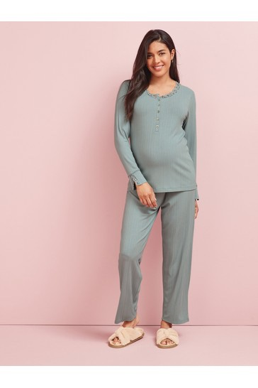 Next long sleeved ribbed matetnity pyjamas