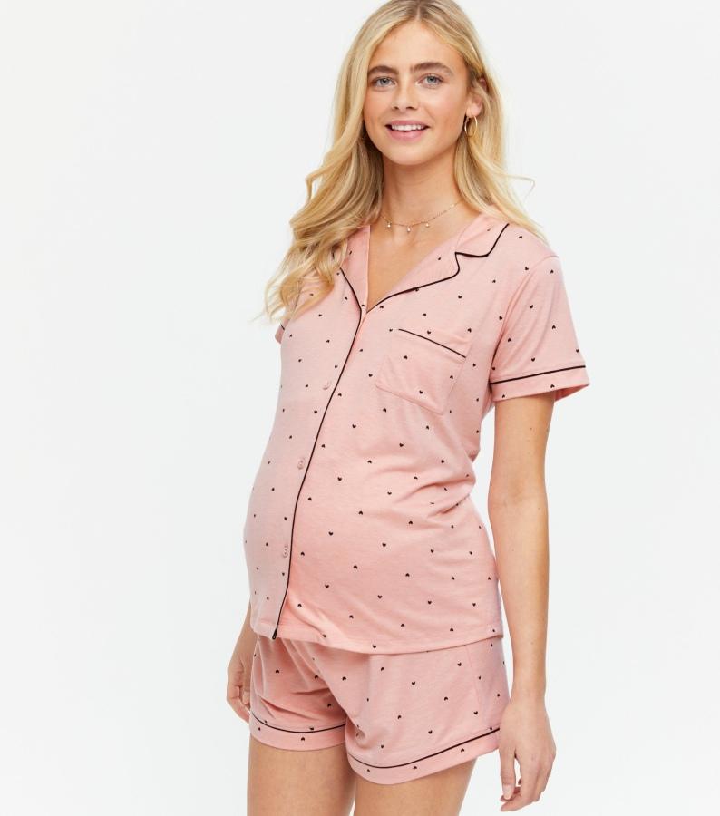 New Look maternity pyjamas pink star shorts